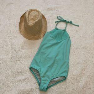 Billabong aqua teal one piece swim suit